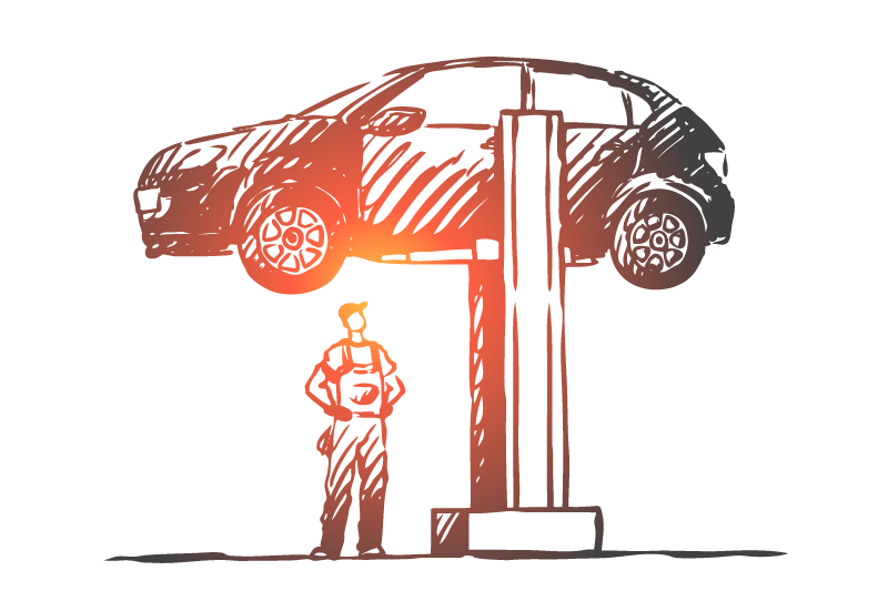 A client looks up at their jacked expectations for what their attorney can do for their legal matter, represented in this image as a car on a car jack