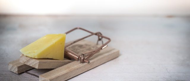 A mouse trap is pictured as a metaphor for an attorney's risk of being sued if they don't have adequate legal malpractice coverage